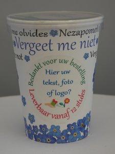 Flowercup type Vergeet me Niet + Tekst