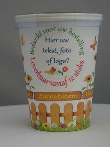 Flowercup type Zonnebloem + Tekst