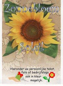 Zonnebloem zakje met tekst/logo in kleur